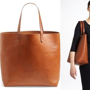 Madewell Leather transport tote saddle brown large